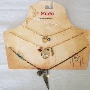 Boho 3 Strand Gold Hamsa Charms Necklace